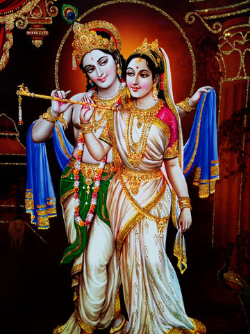 Poster Of Radha Krishna In White With Gold Detailing - OnlinePrasad.com