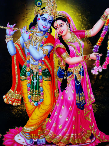 Poster of Playing Flute Radha Krishna in Yellow along with Radha , Poster - J.B. Khanna, OnlinePrasad.com