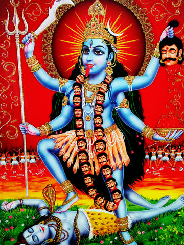 Poster Of Kali In Light Blue Along With Shiva With Gold Detailing - OnlinePrasad.com