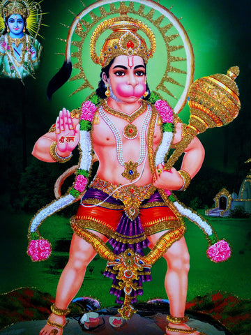 Poster Of Hanuman In Red Along With Rama With Gold Detailing , Poster - J.B. Khanna, OnlinePrasad.com