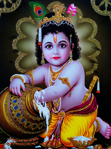Poster of Baby Krishna in Golden Yellow with Gold detailing , Poster - J.B. Khanna, OnlinePrasad.com