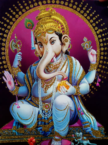 Poster Of Ganesha In Blue With Gold Detailing - OnlinePrasad.com