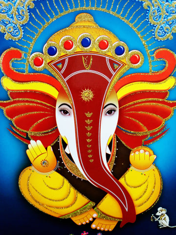 Poster Of Ganesha In Brown With Yellow With Gold Detailing - OnlinePrasad.com