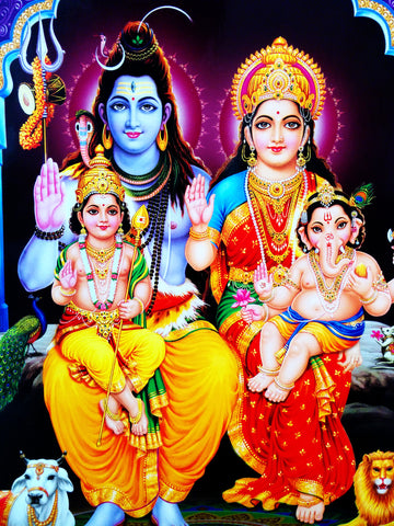 Poster Of Shiva And Parvati In Yellow And Red Along With Ganesha And Kartik - OnlinePrasad.com