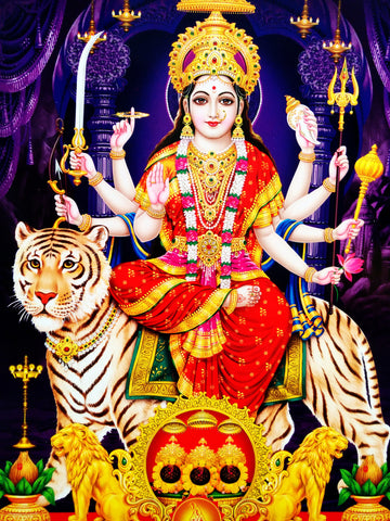 Poster Of Durga Mata In Gold - OnlinePrasad.com