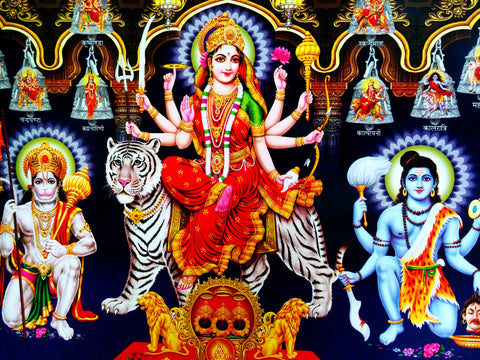 Poster Of Durga Mata In Red Along With Hanuman And Shiva - OnlinePrasad.com