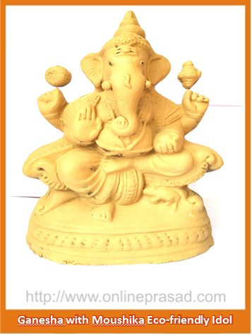 Ganesha with Moushika - Eco Friendly Idol - OnlinePrasad.com