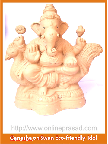 Ganesha on Swan - Eco Friendly Idol , Zevotion Idols - Zevotion, OnlinePrasad.com