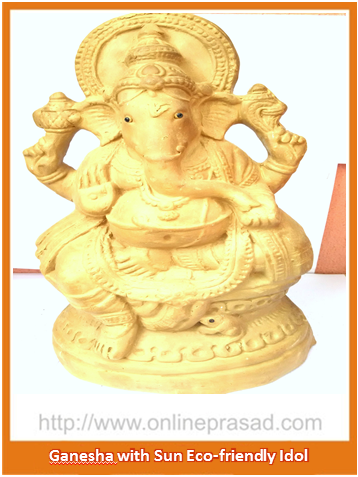 Ganesha with Sun - Eco Friendly Idol , Zevotion Idols - Zevotion, OnlinePrasad.com
