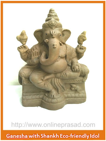 Ganesha with two Shankh - Eco Friendly Idol - OnlinePrasad.com