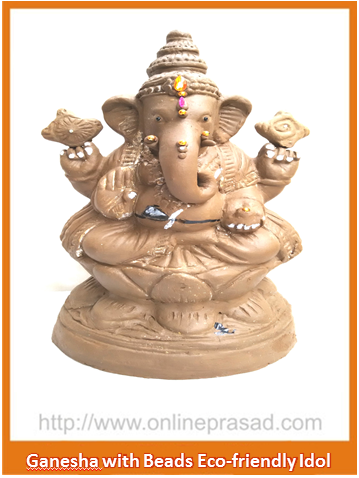 Ganesha with Beads - Eco Friendly Idol - OnlinePrasad.com
