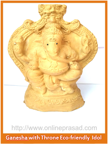 Ganesha with Large Throne - Eco Friendly Idol - OnlinePrasad.com