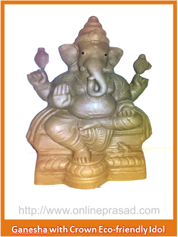 Ganesha With Crown - Eco Friendly Idol - OnlinePrasad.com