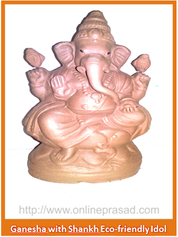 Ganesha with Shankh - Eco Friendly Idol - OnlinePrasad.com