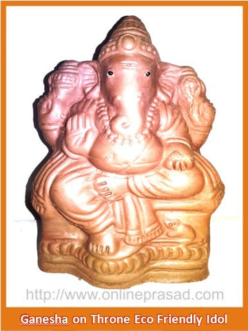Ganesha on Throne - Eco Friendly Idol - OnlinePrasad.com