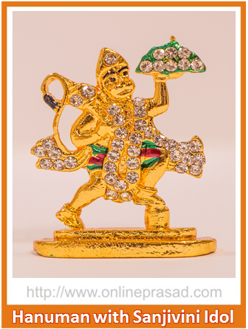 Zevotion Lord Hanuman with Sanjivini Mountain Idol - OnlinePrasad.com