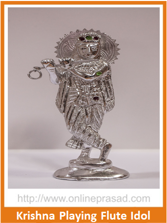 Zevotion Krishna Playing Flute Silver Plated Idol , Zevotion Idols - Zevotion, OnlinePrasad.com