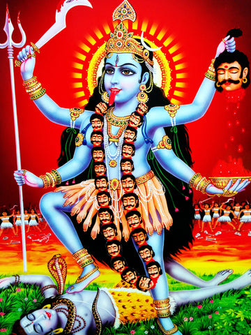 Poster Of Kali In Light Blue Along With Shiva - OnlinePrasad.com