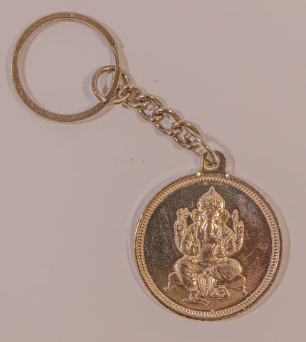 The Ganesha In Gold Key Chain - OnlinePrasad.com