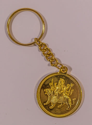 The Durga Mata In Gold Key Chain - OnlinePrasad.com