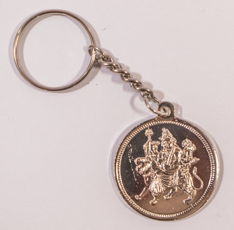 The Durga Mata in Silver Key Chain - OnlinePrasad.com