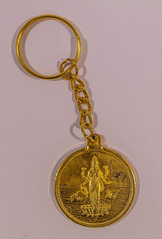 The Maha Laxmi In Gold Key Chain - OnlinePrasad.com