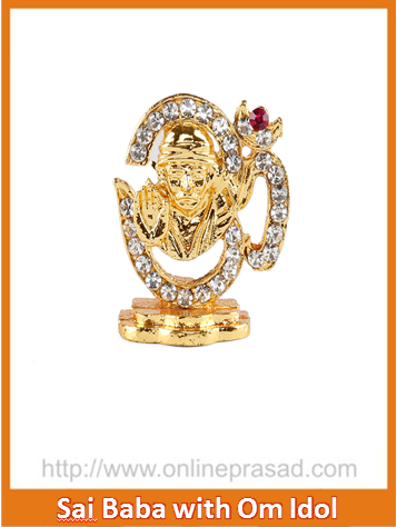 Sai Baba With Studded Om Gold Plated Idol , Zevotion Idols - Zevotion, OnlinePrasad.com