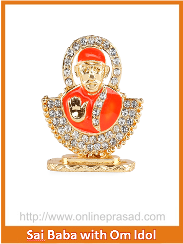 Shirdi Sai Baba In Orange Idol , Zevotion Idols - Zevotion, OnlinePrasad.com