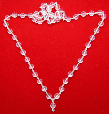 Diamond Cutting  Sphatik Mala Strung in pure silver wire - OnlinePrasad.com