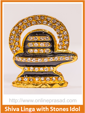 Zevotion Shiv Linga with Stones Gold Plated Idol - OnlinePrasad.com