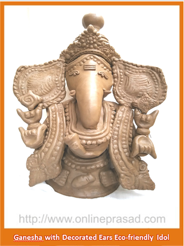 Ganesha with Decorated Ears - Eco Friendly Idol - OnlinePrasad.com
