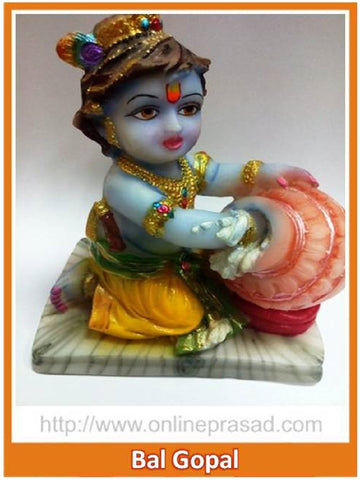 Colorful Bal Gopal Marble Idol Eating Makhan - OnlinePrasad.com