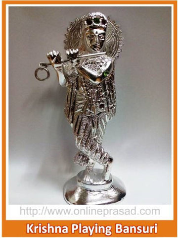 Shining White Metal Krishna idol playing Bansuri - OnlinePrasad.com