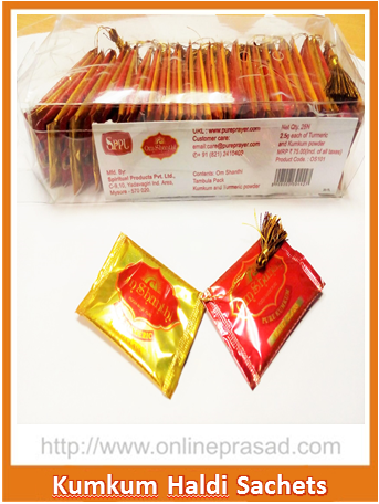 Kumkum Haldi Sachets-Set of 2 , Pooja - Cycle, OnlinePrasad.com  - 1