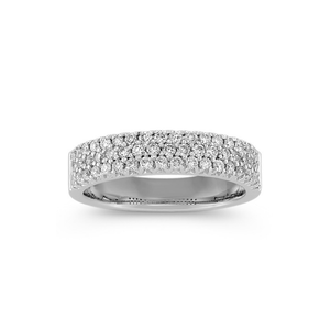 TRIPPLE ROW DIAMOND RING WHITE GOLD CVFT