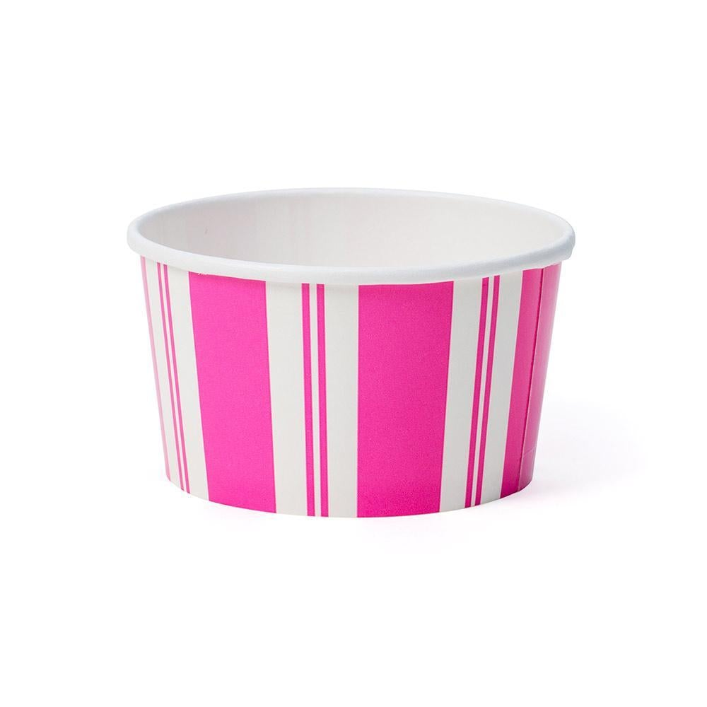 Caspari Awning Stripe Treat Cups in Pink & White - 8 Per Package