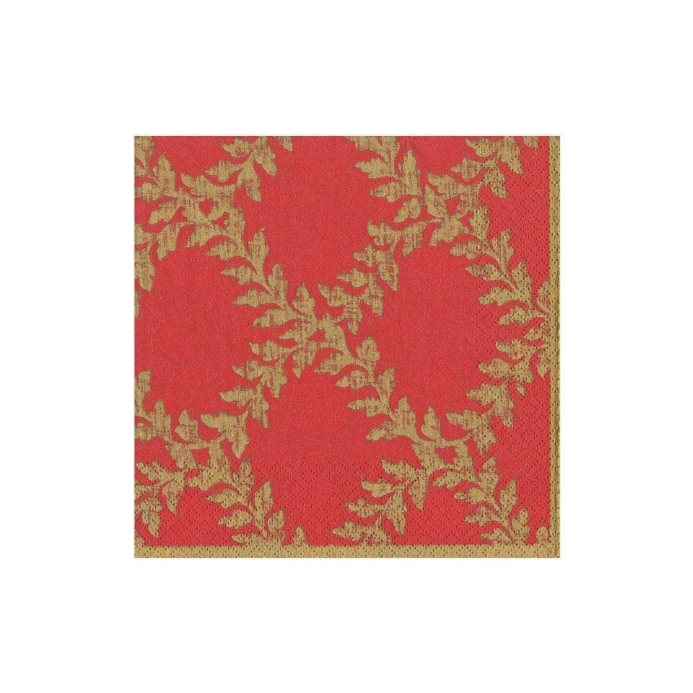Caspari Acanthus Trellis Paper Cocktail Napkins in Red - 20 Per Package