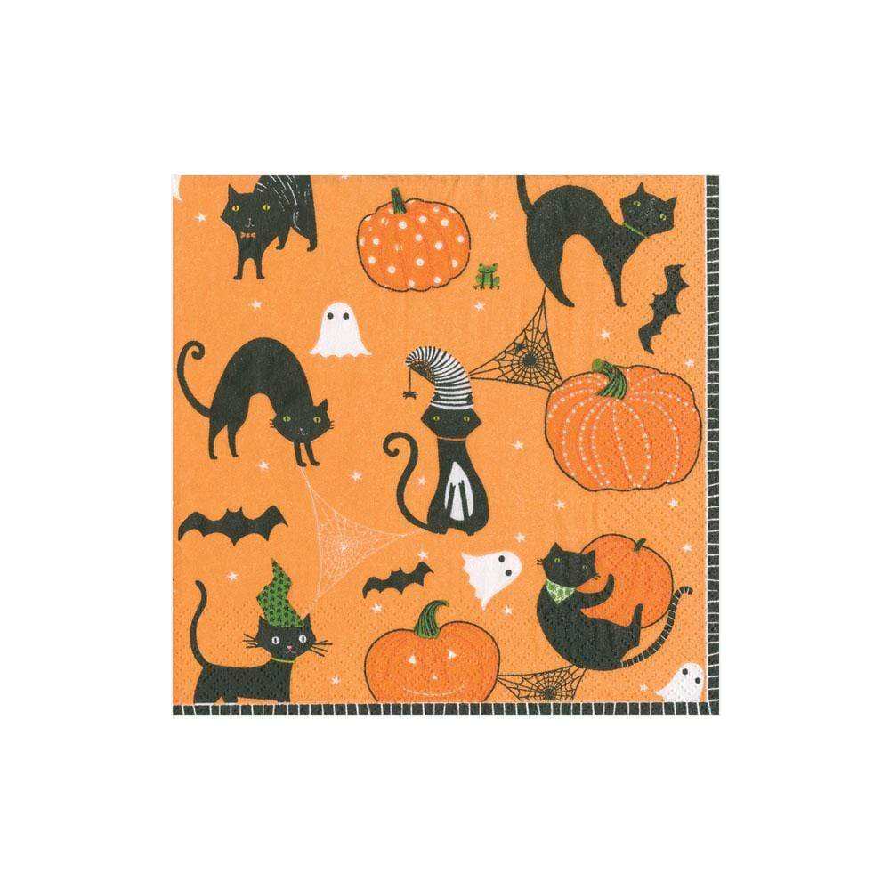 Caspari Scaredy Cats Paper Cocktail Napkins in Orange - 20 Per Package