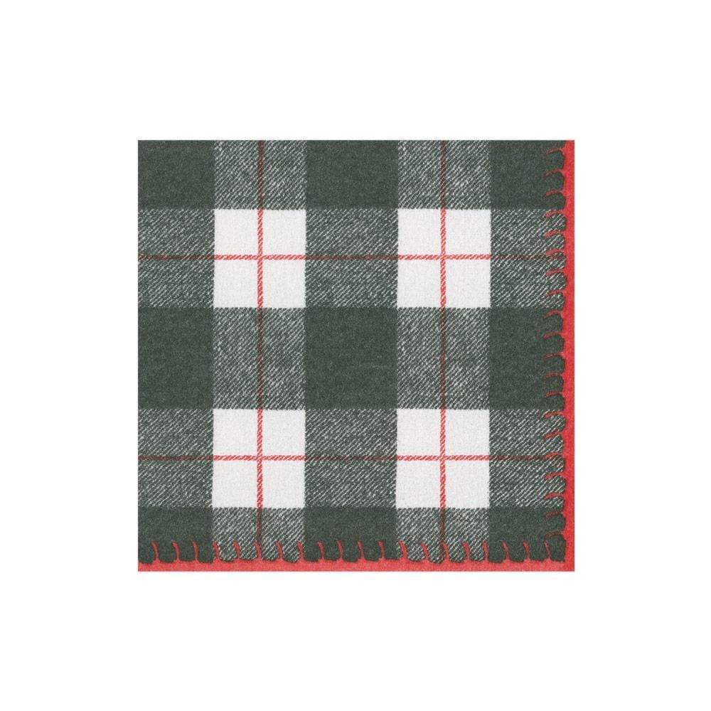 Caspari Plaid Check Paper Linen Cocktail Napkins in Black - 15 Per Package