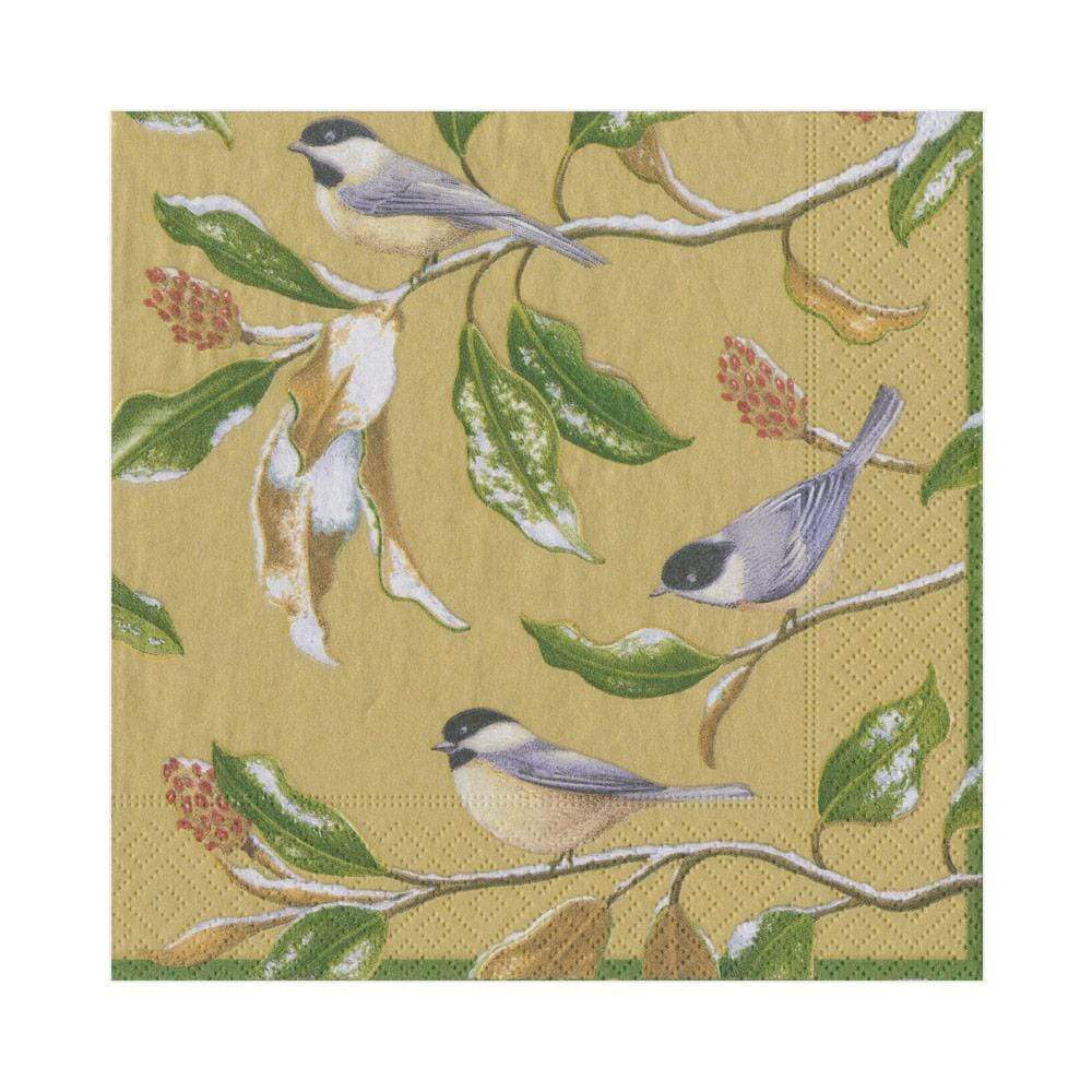 Caspari Chickadee and Magnolia Paper Luncheon Napkins in Gold - 20 Per Package