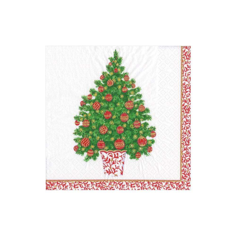 Caspari Decorated Tree Paper Cocktail Napkins - 20 Per Package
