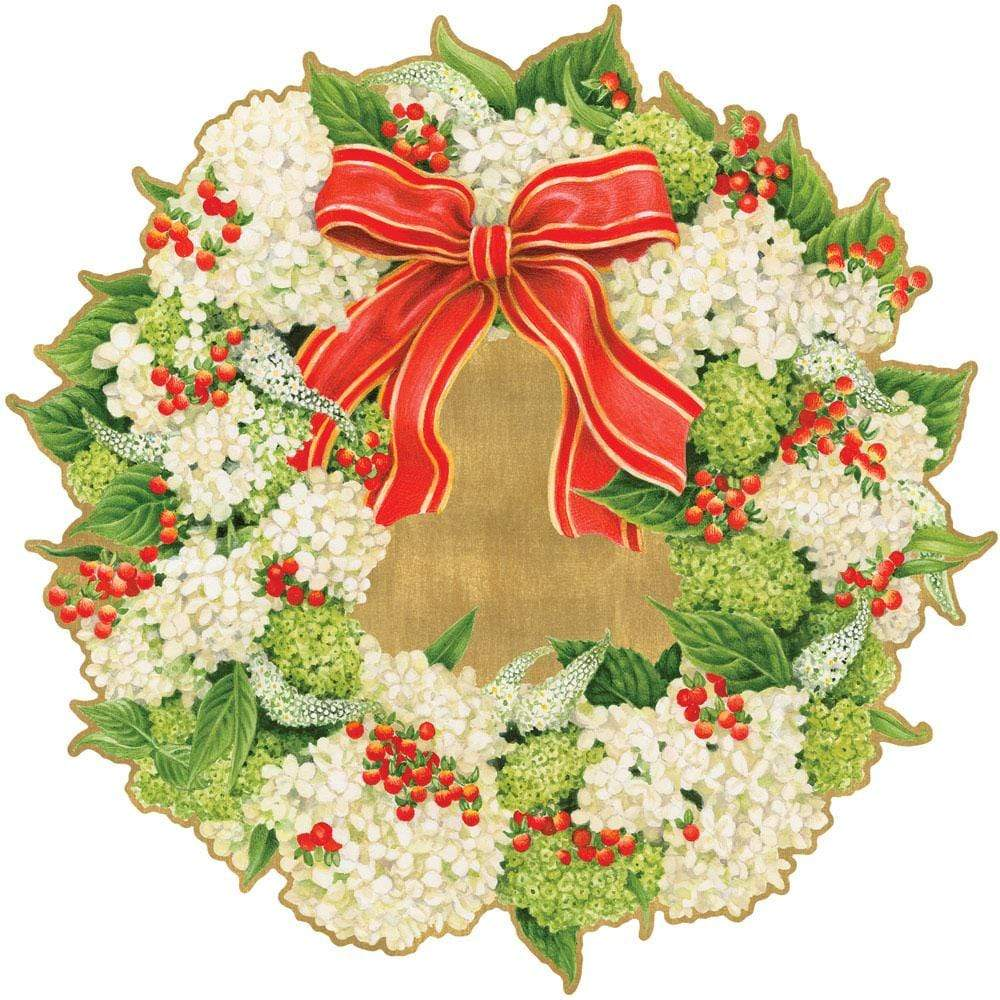 Caspari Hydrangea Wreath Die-Cut Coasters - 4 Per Package