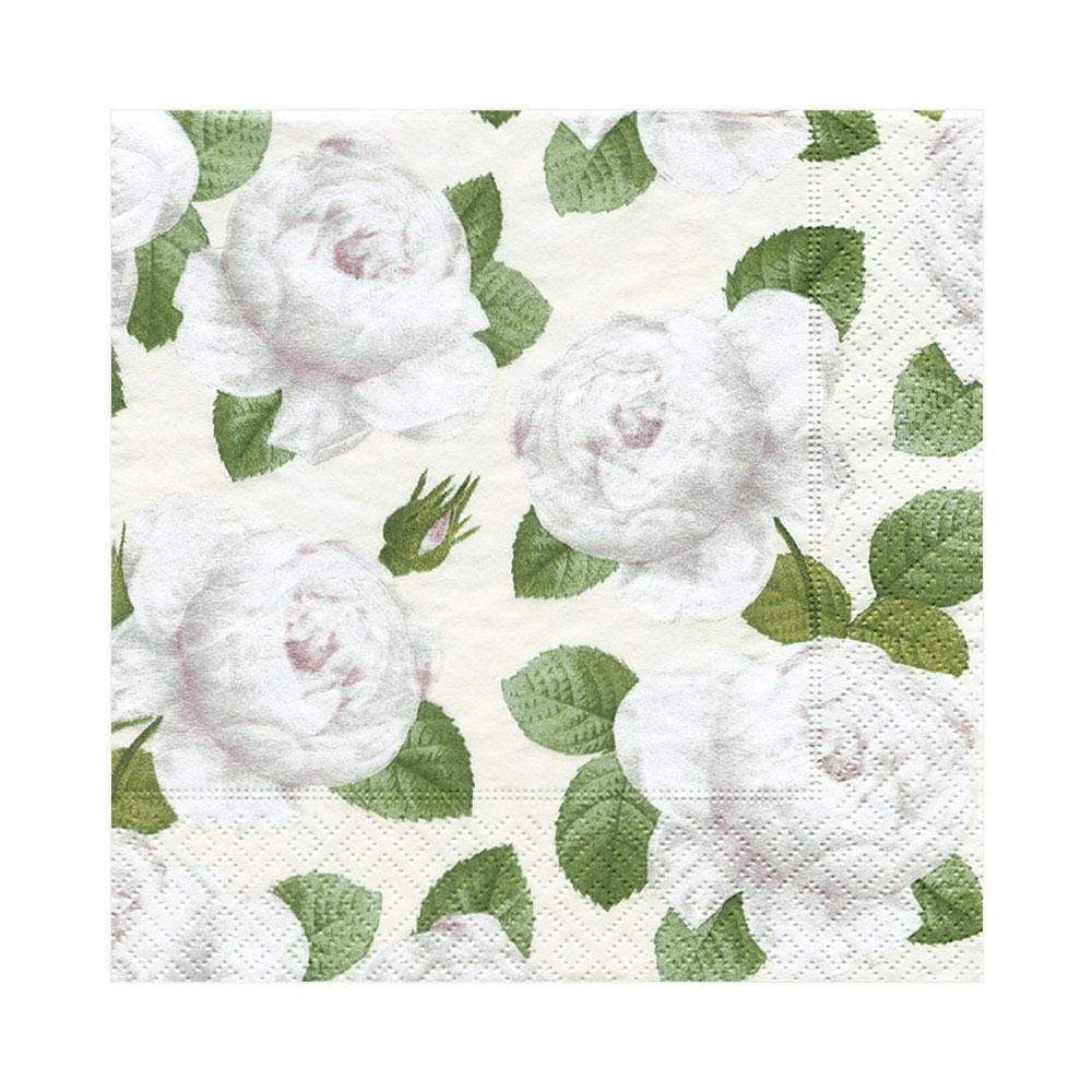 Caspari Redoute Rose Paper Luncheon Napkins in Ivory - 20 Per Package