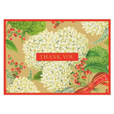 Caspari Snowball Hydrangeas Thank You Notes in Gold - 8  Note Cards & 8 Envelopes