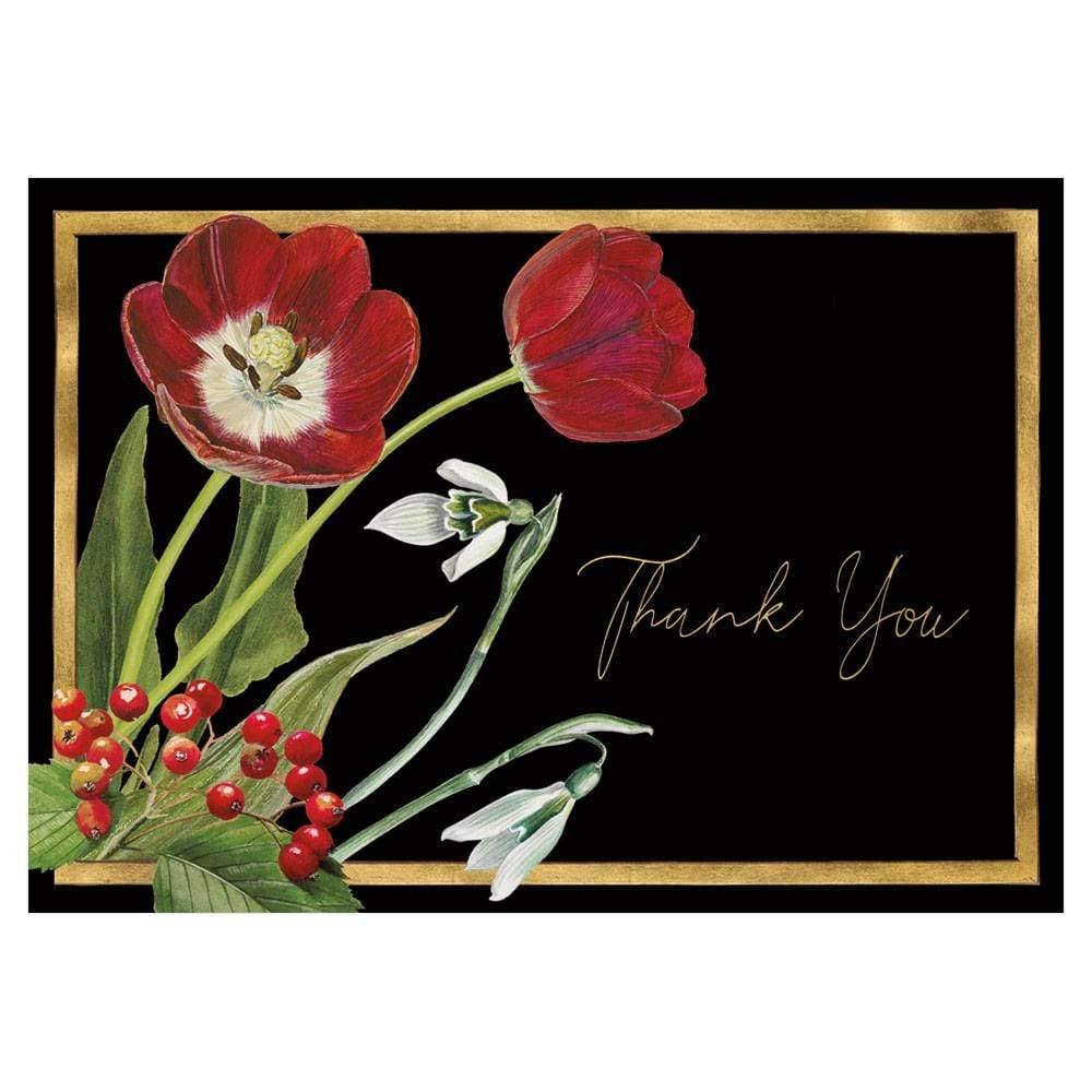 Caspari Winter Arrangement Thank You Notes - 8 Note Cards & 8 Envelopes