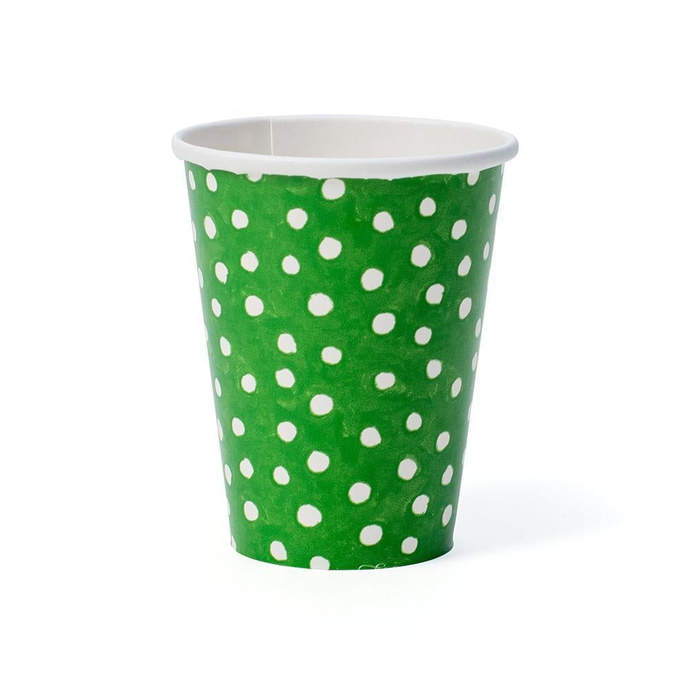 Caspari Small Dots Paper Cups in Green - 8 Per Package