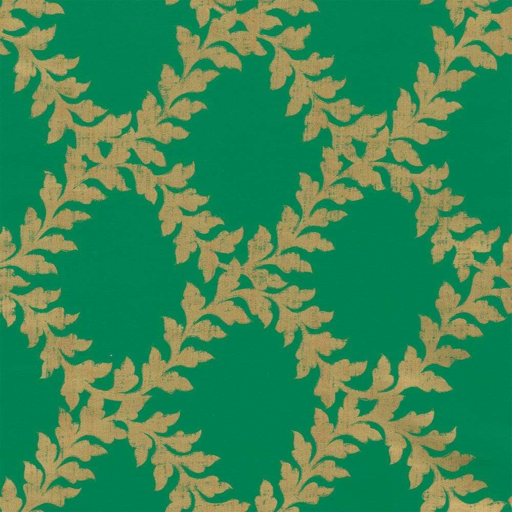 "Caspari Acanthus Trellis Gift Wrap Roll in Green & Gold Soft-Touch Paper - 30"" x 8' Roll"