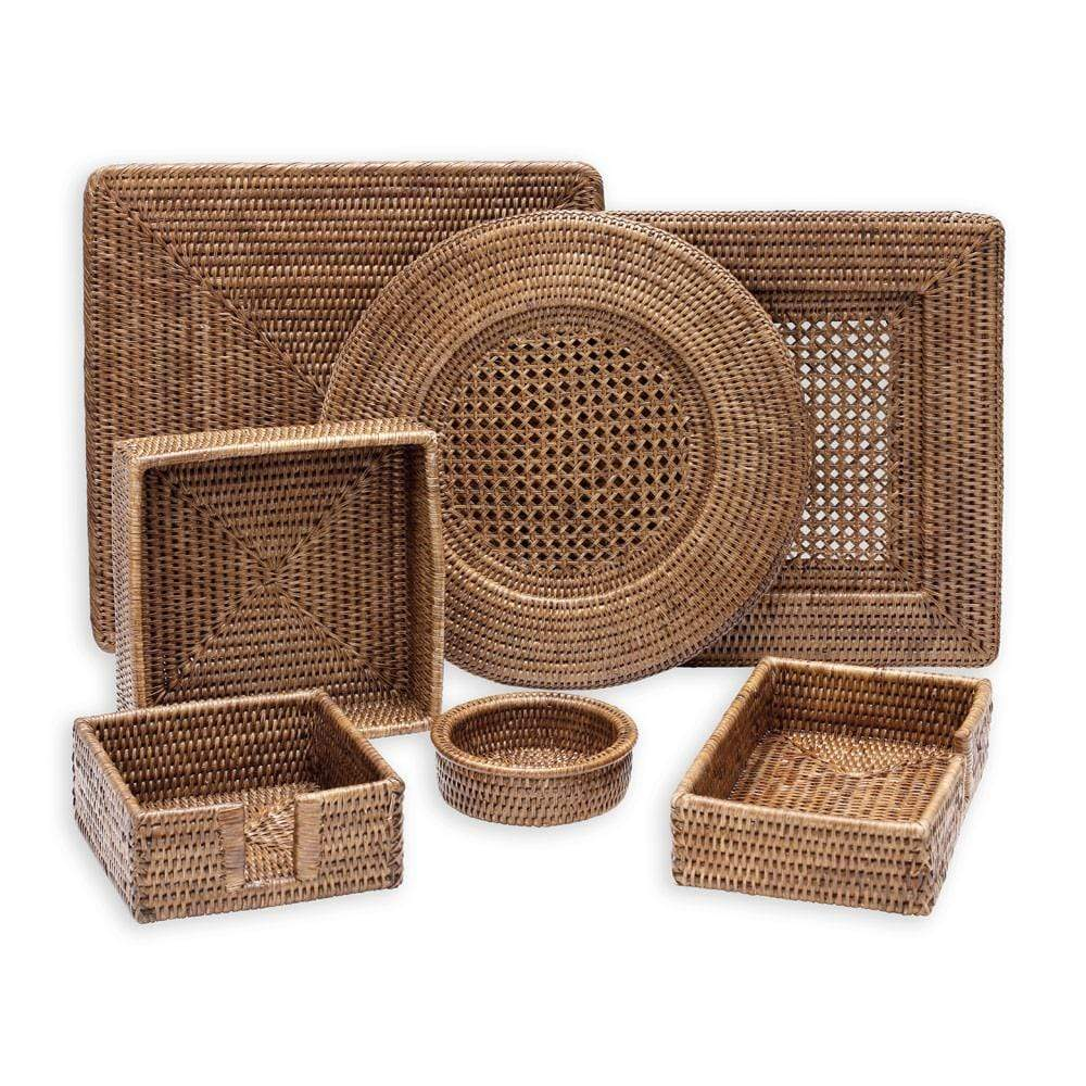 Rattan Wine Bottle Coaster in Dark Natural - 1 Each