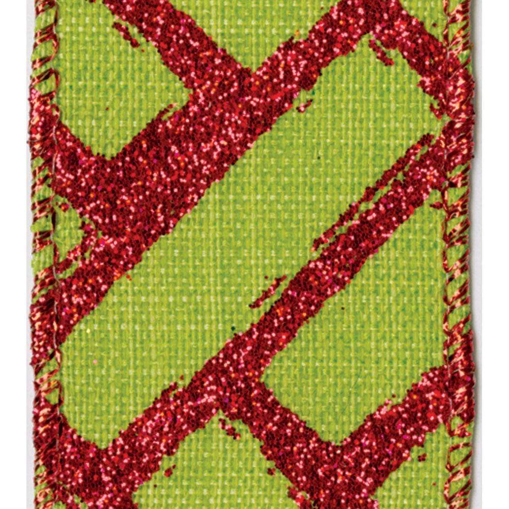 Green & Red Fretwork Wired Ribbon - 6 Yard Spool