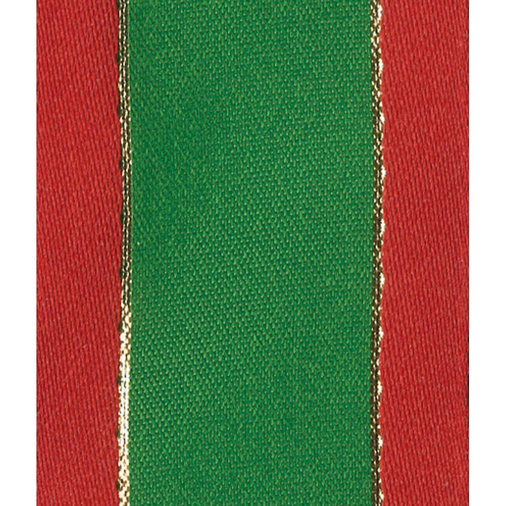 Green with Red Border Wired Ribbon - 8 Yard Spool